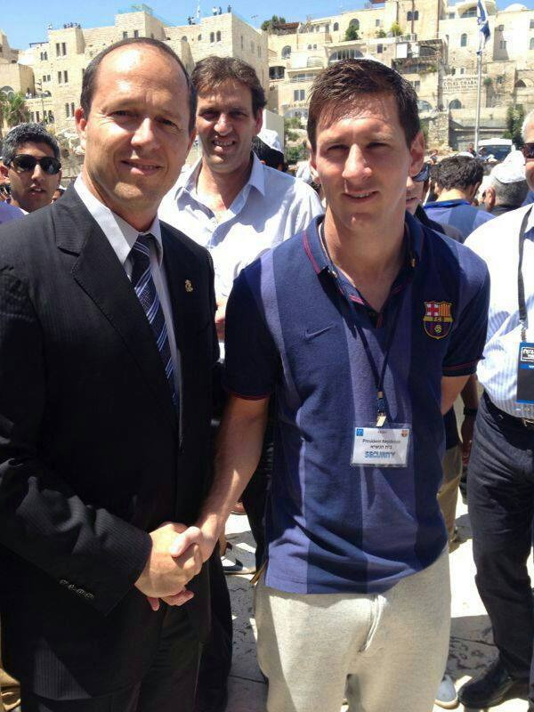 Mayor Nir Barkat with Leo Messi