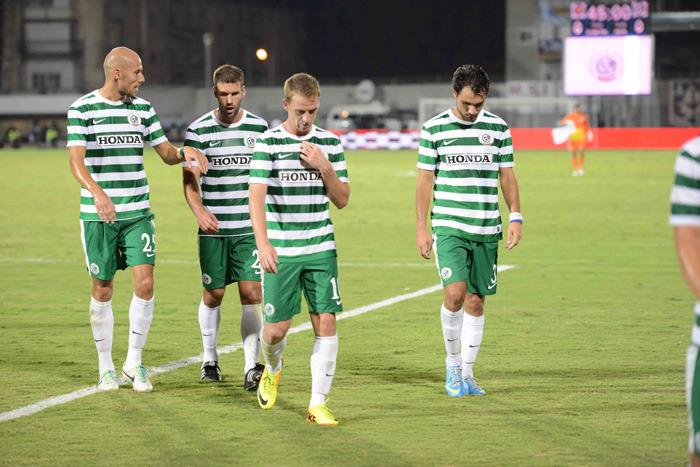 Dejected Maccabi Haifa players leaving the pitch-Courtesy Maccabi Haifa website