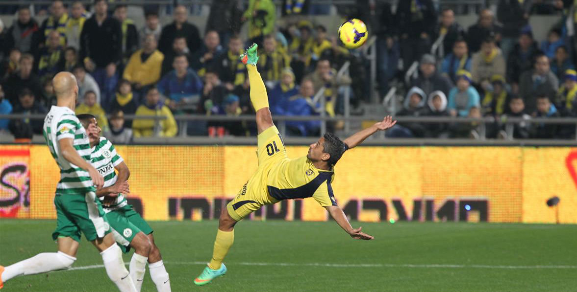 Barak Yitzhaki & his bicycle kick goal! Courtesy Maccabi Tel Aviv website