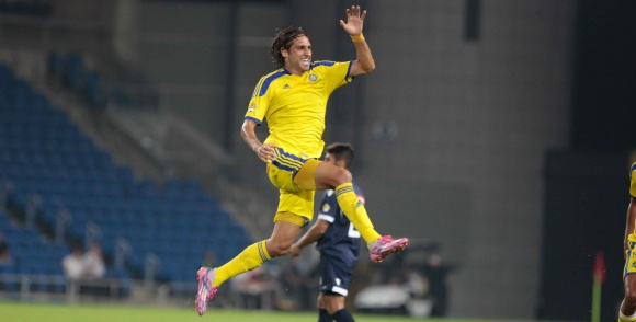 Barak Badash celebrates after scoring!-Courtesy Maccabi Tel Aviv Website